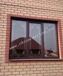 трехстворчатое окно с фальш переплетом